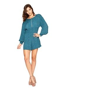 Free People New Love Grows Romper Teal Shorts Sz S